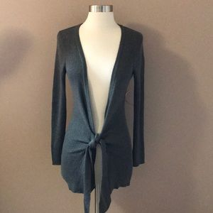 Cache Gray Ribbed Front Tie Cardigan